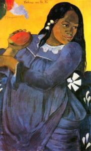 持芒果的少女